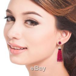18K Gold Diamond Ruby Onyx Tassel Earrings Indian Ethnic Women Fashion Jewelry