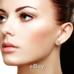 18K Yellow Gold Diamond Mini Stud Earrings Indian Ethnic Look Handmade Jewelry