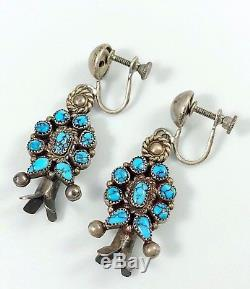 1-5/8 c. 1940s Navajo Coin Silver BLACK WEB #8 Turquoise SQUASH BLOSSOM Earrings