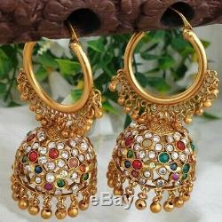 22K Bollywood Indian Gold Plated Bali Jhumki Jhumka Chain Earrings Wedding Set