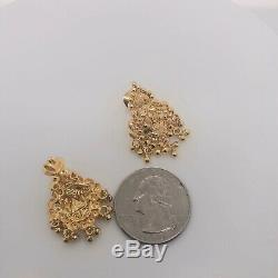 22K Solid Yellow Gold Gypsy Pakistani Indian Bridal Chandelier Earrings 6.9Grams