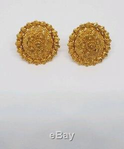 22 K Yellow Gold Traditional Indian Stud Earrings