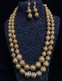 22k Gold Plated Indian Bollywood Vintage Bridal Fashion Boll Necklace Earrings