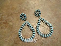 2 3/4 Navajo Sterling Silver DRY CREEK Petit Point Turquoise Cluster Earrings