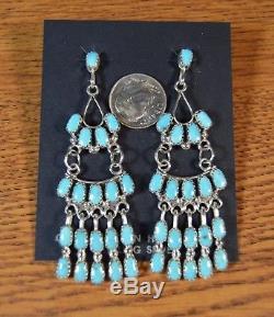 2-3/4 Turquoise Chandelier Zuni Earrings by Claudine Penketewa Sleeping Beauty