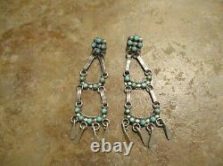 2 3/4 Vintage Zuni / Navajo Sterling Silver SNAKE EYE Turquoise Ladder Earrings