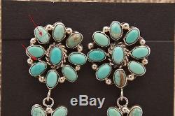 3 1/2 Long Green Turquoise Chandelier style Earrings Navajo artist J H Etsitty