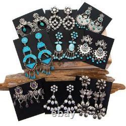 3.25 FEDERICO JIMENEZ Earrings Frida Khalo Sterling Silver Turquoise Dangles