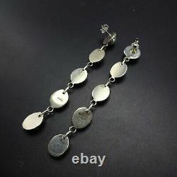 3.5 LONG Dangle Pierced NAVAJO Sterling Silver TURQUOISE EARRINGS