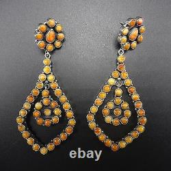 3.5 Long NAVAJO Sterling Silver & ORANGE Spiny Oyster Shell Cluster EARRINGS