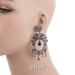 3 FEDERICO JIMENEZ Earrings BIG WEDDING Sterling Silver Dangles Amethyst
