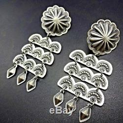 3 LONG Gorgeous NAVAJO Hand Stamped & Repousse Sterling Silver Dangle EARRINGS