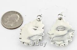 $400Tag Silver Navajo Dangle Native American Earrings Natural Turquoise