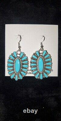 #451 Native American Sterling Silver navajo Handmade Turquoise Cluster earrings