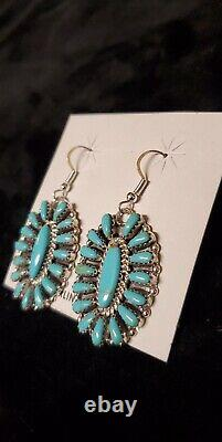 #454 Native American Sterling Silver navajo Handmade Turquoise Cluster earrings