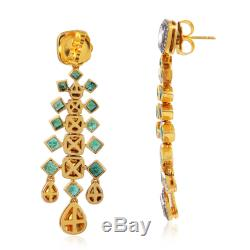 4.14Ct Pave Diamond Gold Silver Emerald Dangle Earrings Indian Ethnic Jewelry