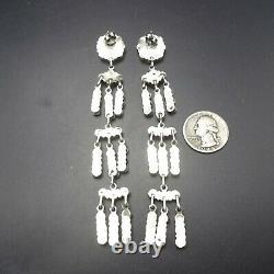 4.75 Long NAVAJO Sterling Silver TURQUOISE Cluster Dangle Pierced EARRINGS 31g