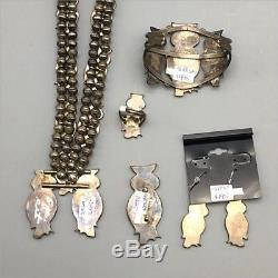 5 Pieces! Vintage Inlay Owl Necklace, Bracelet, Pin, Ring & Earring Set ZUNI
