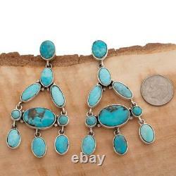 A+ FEDERICO JIMENEZ Earrings TURQUOISE Blue Sterling Silver Dangles Chandelier