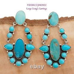 A+ FEDERICO JIMENEZ Earrings TURQUOISE Sterling Silver Dangles Chandelier BIG