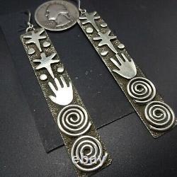 Alex Sanchez NAVAJO Long Sterling Silver Monoliths PETROGLYPH EARRINGS Pierced