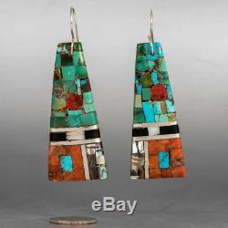 Amazing Rare Santo Domingo Turquoise Mosaic Inlay Earrings by Mary Lovato