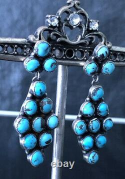 Amazing Vintage Native American Sterling Silver Zuni Handmade Turquoise Earrings