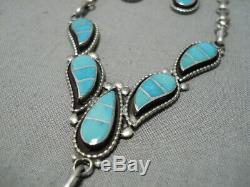 Amazing Vintage Zuni Blue Gem Turquoise Sterling Silver Earrings Necklace