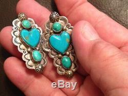 American Indian Vintage Sterling Turquoise Earrings Signed Frank &brihilda Coriz