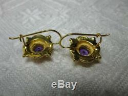 Amethyst 14K Gold Earrings Victorian Indian Bridal Wedding Style Vintage Earring