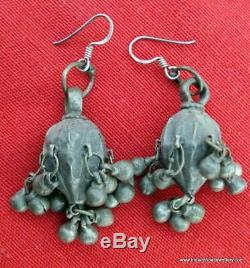 Ancient antique tribal old silver earrings traditional jewelry indian ethnic