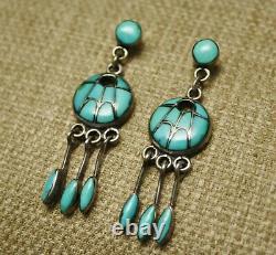 Anne Quam Gasper Native American Zuni Turquoise Sterling Silver Earrings
