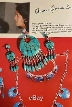 Annie Quam Gasper Zuni Turquoise Native American Pendant And Earrings Set SS