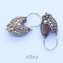 Antique Indian Earrings 22k Gold Granulation Exquisite Detail (6449)