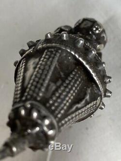 Antique Indian Rabari Rajasthan Gujarat Nagali Silver Earrings Tribal 19th C