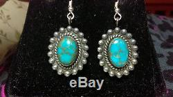Antique Navajo Number No 8 Eight Turquoise Sterling Silver Earrings