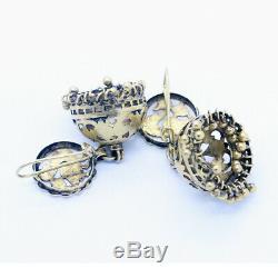 Antique Vintage Earrings 22k Gold Jhumki Bells Swan Goose Indian Wedding (6491)