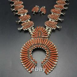 Astonishing ZUNI Sterling Silver RED CORAL SQUASH BLOSSOM Necklace Earrings SET