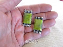 Australian Gaspeite & Sterling Silver Earrings 1-1/4 Long By Calladitto