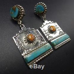 BRODERICK TENORIO Sterling Silver TURQUOISE EARRINGS Orange Spiny Oyster Shell