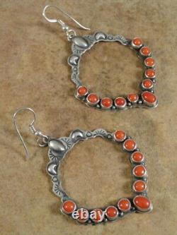 Beautiful Annie Hoskie Navajo Sterling Silver & Coral Hoop Earrings