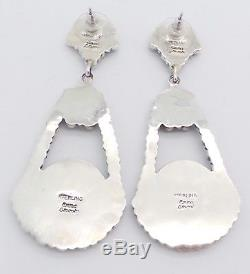 Beautiful Handmade Navajo Sterling Silver Turquoise Cluster Drop Post Earrings