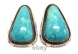 Beautiful Handmade Navajo Sterling Silver Turquoise Post Earrings B Piaso Jr