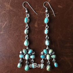 Beautiful Handmade Sterling Silver Carico Lake Mini Cluster Long Dangle Earrings