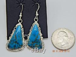 Beautiful Navajo Handmade Kingman Turquoise Earrings Set in Sterling Silver