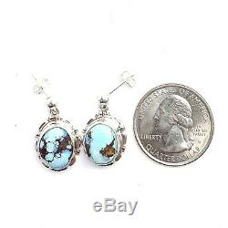 Beautiful Navajo Handmade Sterling Silver Golden Hill Turquoise Earrings A