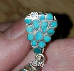 Beautiful Vintage Zuni Dishta Sterling Silver and Turquoise Chandelier Earrings