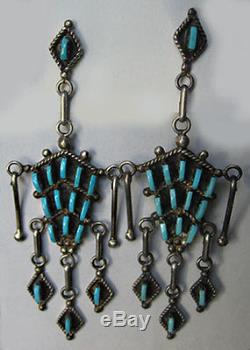 Big Zuni Indian Silver Petit Point Turquoise Pierced Dangle Earrings