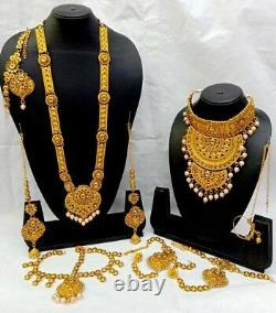 Bollywood 22k Gold Plated Fashion Rani Haar Bridal Necklace Earring Set