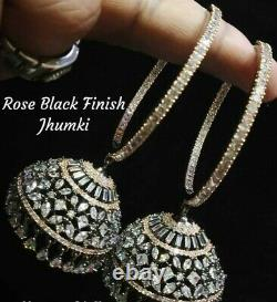 Bollywood CZ Jewelry Indian Hoop Earrings Gold Plated Rose Black Finish Jhumka